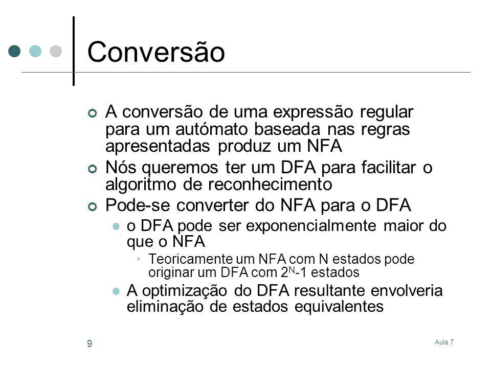 Aula 7 10 Conversão NFA para DFA O DFA tem um estado para cada subconjunto de estados no NFA O estado início do DFA corresponde ao conjunto de estados alcançáveis seguindo as transições do estado início no NFA Um estado do DFA é de aceitação se um estado de aceitação do NFA está no conjunto de estados agrupados Para determinar a transição despoletada pelo símbolo a de um dado estado D do DFA Colocar S como conjunto vazio Encontrar o conjunto N de estados D no NFA Para todos os estados do NFA em N Determinar o conjunto de estados N em que o NFA pode estar depois de reconhecer a Actualizar S com a união de S com N Se S não é vazio, há uma transição para a de D para o estado no DFA que tem o conjunto de estados S do NFA Caso contrário, não há nenhuma transição a de D