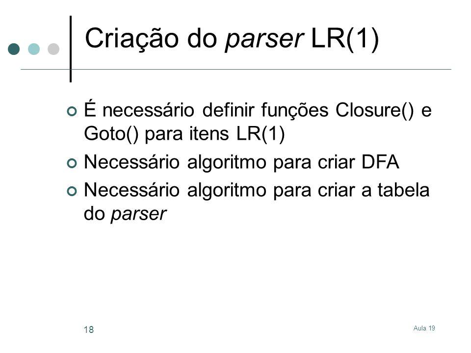 Aula 19 18 Criação do parser LR(1) É necessário definir funções Closure() e Goto() para itens LR(1) Necessário algoritmo para criar DFA Necessário alg