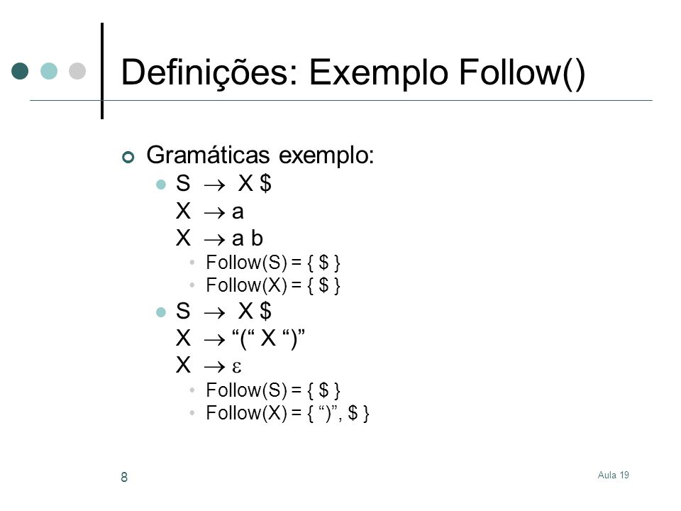 Aula 19 29 Geradores de Parsers Geram C, http://dinosaur.compilertools.net/http://dinosaur.compilertools.net/ Lex & Yacc flex e bison Geram Java: JLex e CUP http://www.cs.princeton.edu/~appel/modern/java/JLex/ http://www.cs.princeton.edu/~appel/modern/java/CUP/ JavaCC: http://www.experimentalstuff.com/Technologies/JavaCC/index.