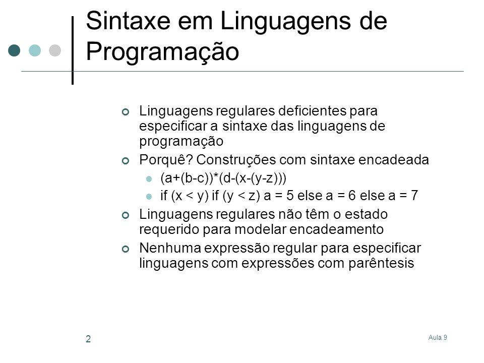 Aula 9 2 Sintaxe em Linguagens de Programação Linguagens regulares deficientes para especificar a sintaxe das linguagens de programação Porquê.