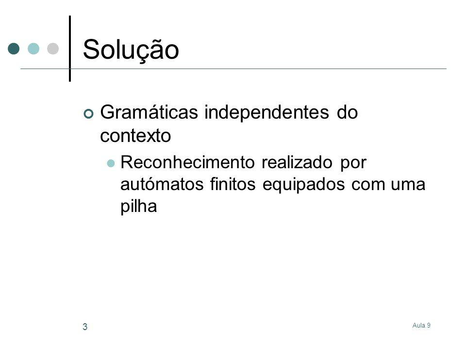 Aula 9 3 Solução Gramáticas independentes do contexto Reconhecimento realizado por autómatos finitos equipados com uma pilha