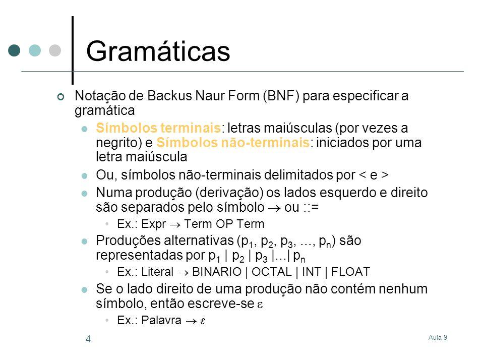 Aula 9 4 Gramáticas Notação de Backus Naur Form (BNF) para especificar a gramática Símbolos terminais: letras maiúsculas (por vezes a negrito) e Símbolos não-terminais: iniciados por uma letra maiúscula Ou, símbolos não-terminais delimitados por Numa produção (derivação) os lados esquerdo e direito são separados pelo símbolo ou ::= Ex.: Expr Term OP Term Produções alternativas (p 1, p 2, p 3,..., p n ) são representadas por p 1 | p 2 | p 3 |...| p n Ex.: Literal BINARIO | OCTAL | INT | FLOAT Se o lado direito de uma produção não contém nenhum símbolo, então escreve-se Ex.: Palavra