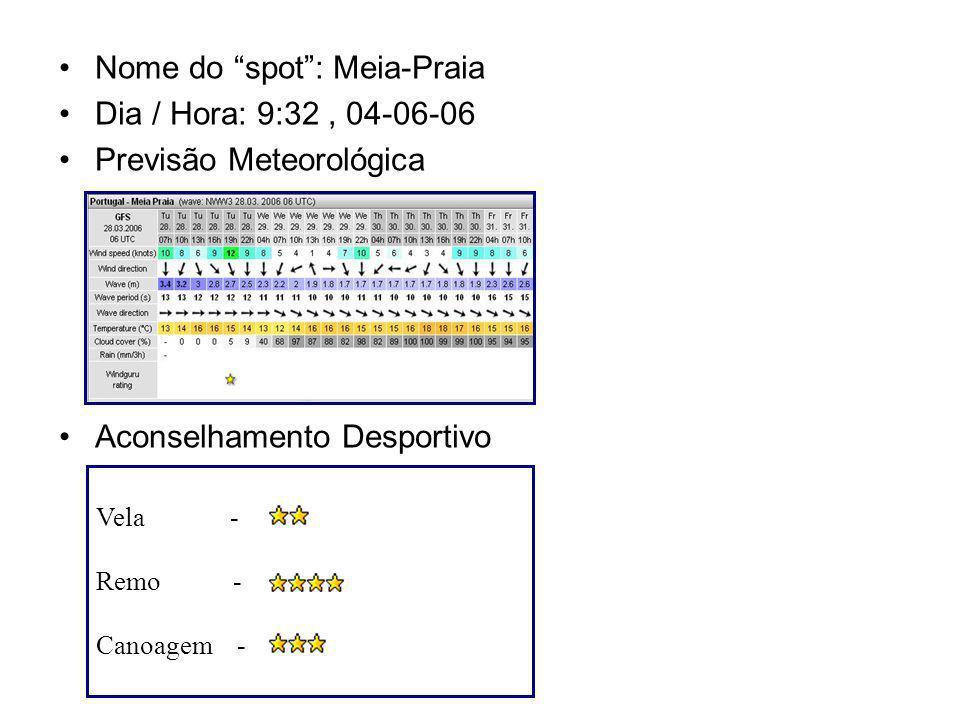 Nome do spot: Meia-Praia Dia / Hora: 9:32, 04-06-06 Previsão Meteorológica Aconselhamento Desportivo Vela - Remo - Canoagem -