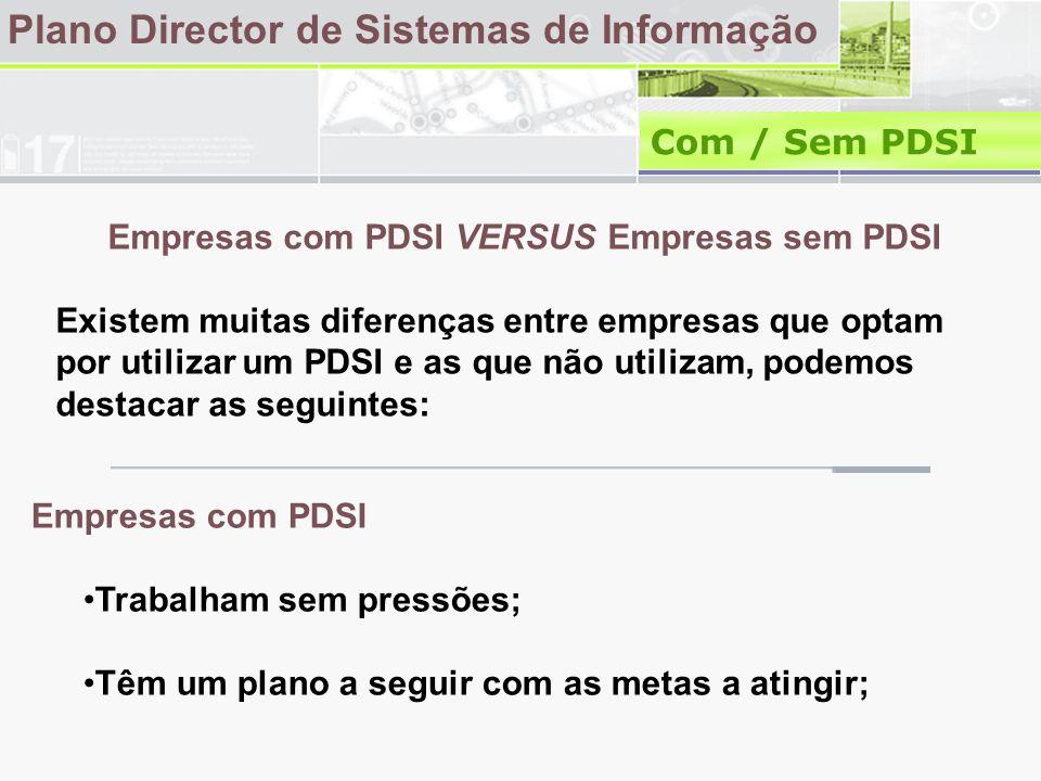 Plano Director de Sistemas de Informação Com / Sem PDSI Empresas com PDSI VERSUS Empresas sem PDSI Existem muitas diferenças entre empresas que optam