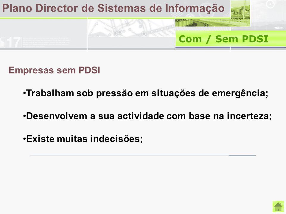 Plano Director de Sistemas de Informação Com / Sem PDSI Empresas sem PDSI Trabalham sob pressão em situações de emergência; Desenvolvem a sua activida
