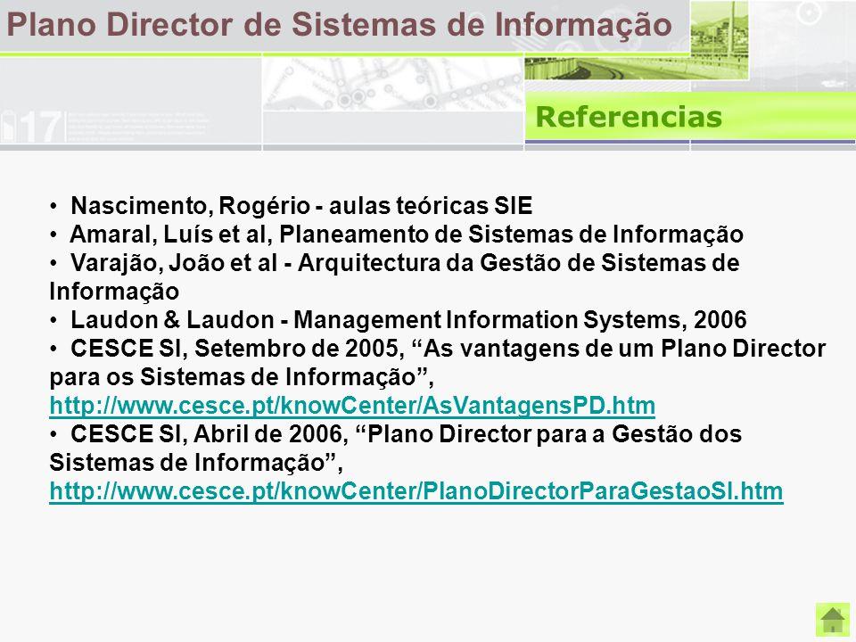 Plano Director de Sistemas de Informação Referencias Nascimento, Rogério - aulas teóricas SIE Amaral, Luís et al, Planeamento de Sistemas de Informaçã