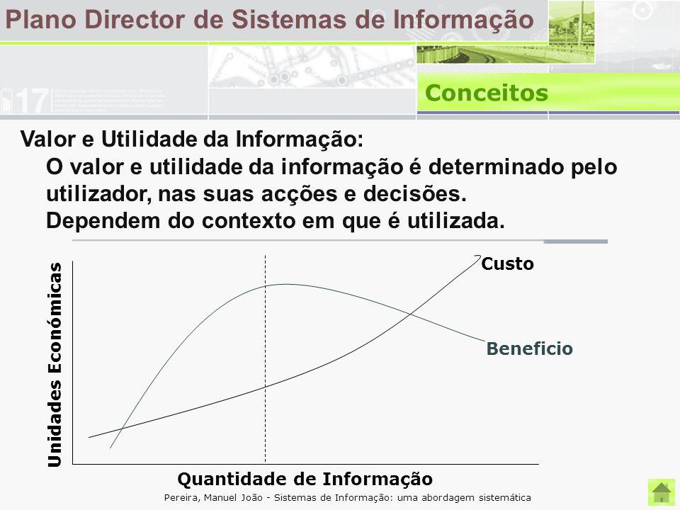 Plano Director de Sistemas de Informação Conceitos Valor e Utilidade da Informação: O valor e utilidade da informação é determinado pelo utilizador, n