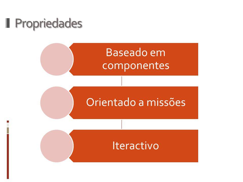 Propriedades Baseado em componentes Orientado a missões Iteractivo