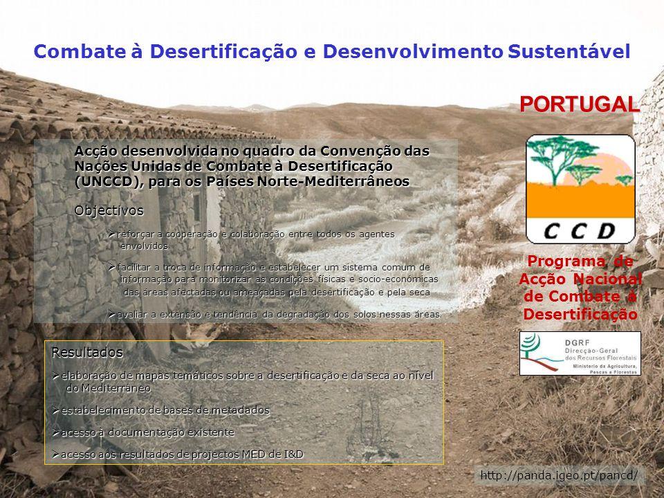 Combate à Desertificação e Desenvolvimento Sustentável Índice de Susceptibilidade do CLIMA à DESERTIFICAÇÃO Mapa que traduz as disponibilidades hídricas do solo, reflectindo as situações de humidade e de stress hídrico.