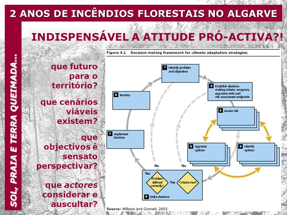 2 ANOS DE INCÊNDIOS FLORESTAIS NO ALGARVE SOL, PRAIA E TERRA QUEIMADA… INDISPENSÁVEL A ATITUDE PRÓ-ACTIVA?! que futuro para o território? que cenários