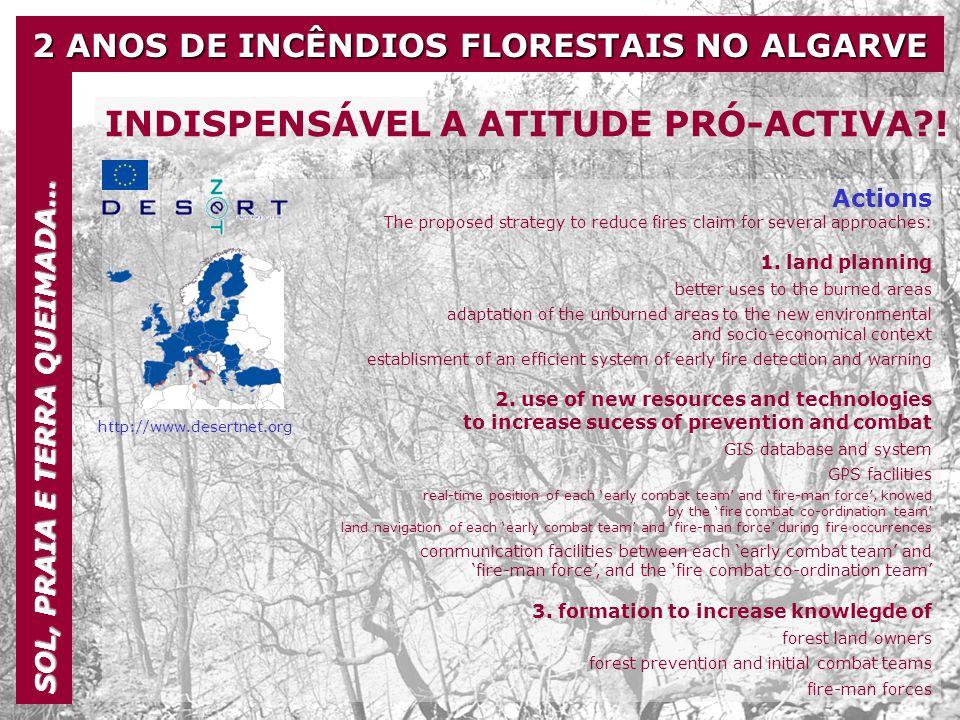 2 ANOS DE INCÊNDIOS FLORESTAIS NO ALGARVE SOL, PRAIA E TERRA QUEIMADA… INDISPENSÁVEL A ATITUDE PRÓ-ACTIVA?! Actions The proposed strategy to reduce fi