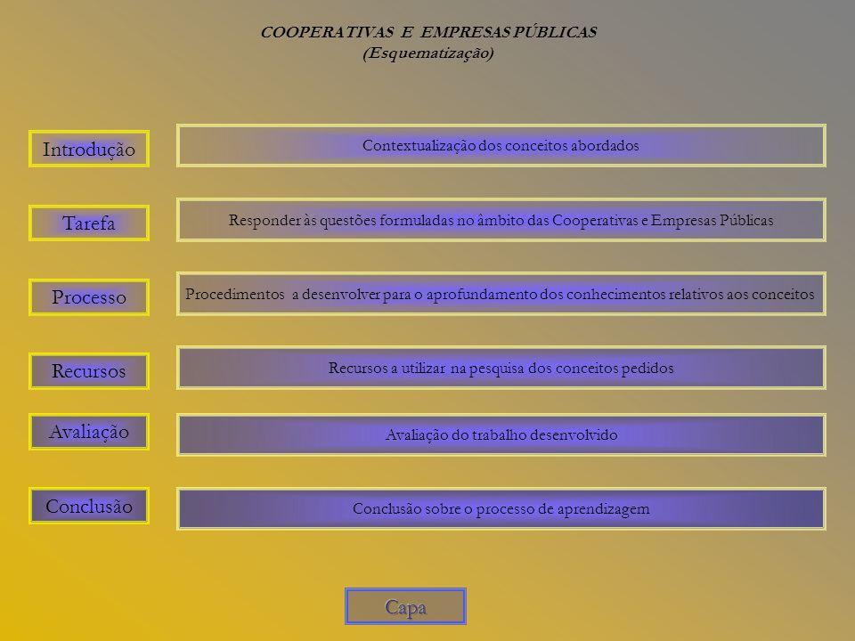 COOPERATIVAS E EMPRESAS PÚBLICAS (Esquematização) Introdução Avaliação Recursos Processo Tarefa Conclusão Contextualização dos conceitos abordados Responder às questões formuladas no âmbito das Cooperativas e Empresas Públicas Procedimentos a desenvolver para o aprofundamento dos conhecimentos relativos aos conceitos Recursos a utilizar na pesquisa dos conceitos pedidos Avaliação do trabalho desenvolvido Conclusão sobre o processo de aprendizagem