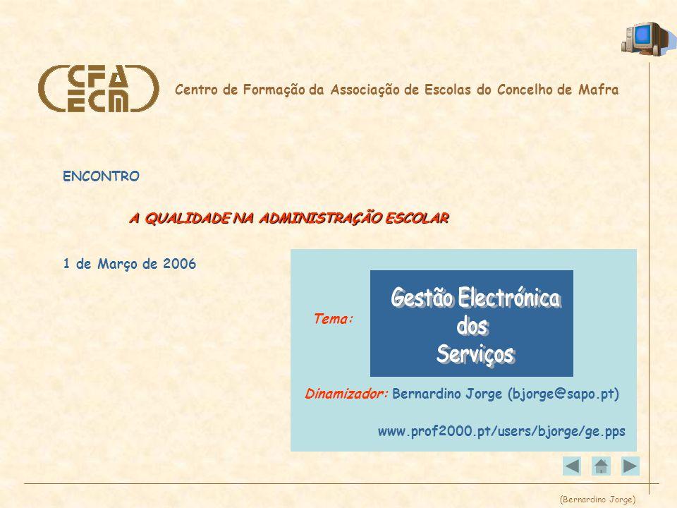 (Bernardino Jorge) Centro de Formação da Associação de Escolas do Concelho de Mafra ENCONTRO A QUALIDADE NA ADMINISTRAÇÃO ESCOLAR 1 de Março de 2006 Tema: www.prof2000.pt/users/bjorge/ge.pps Dinamizador: Bernardino Jorge (bjorge@sapo.pt)