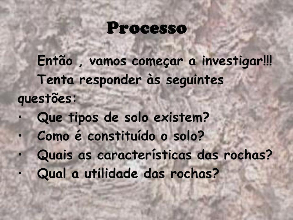 Processo Então, vamos começar a investigar!!! Tenta responder às seguintes questões: Que tipos de solo existem? Como é constituído o solo? Quais as ca