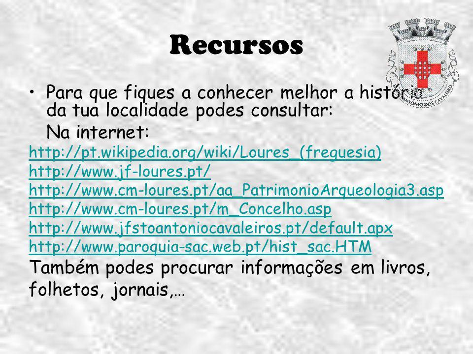 Recursos Para que fiques a conhecer melhor a história da tua localidade podes consultar: Na internet: http://pt.wikipedia.org/wiki/Loures_(freguesia)