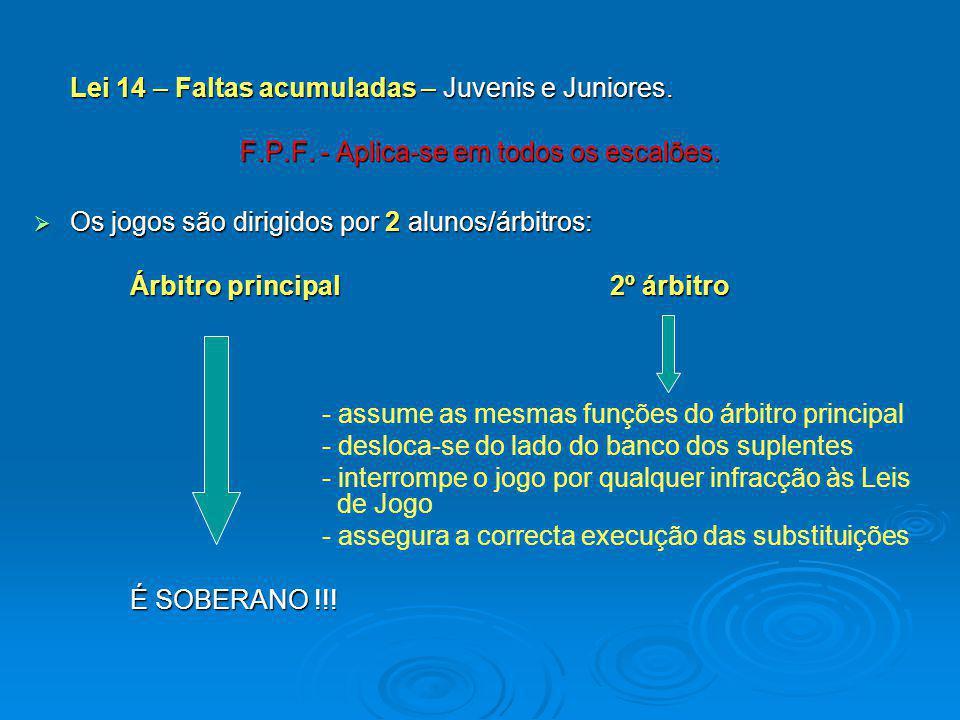 Lei 14 – Faltas acumuladas – Juvenis e Juniores. F.P.F. - Aplica-se em todos os escalões. Os jogos são dirigidos por 2 alunos/árbitros: Os jogos são d