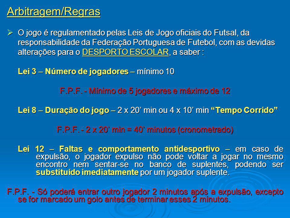 Arbitragem/Regras O jogo é regulamentado pelas Leis de Jogo oficiais do Futsal, da O jogo é regulamentado pelas Leis de Jogo oficiais do Futsal, da responsabilidade da Federação Portuguesa de Futebol, com as devidas alterações para o DESPORTO ESCOLAR, a saber : Lei 3 – Número de jogadores – mínimo 10 F.P.F.