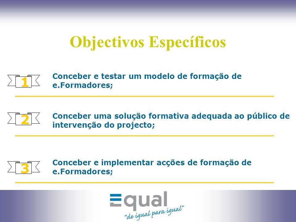 4 Objectivos Específicos Conceber um modelo de certificação de competências de e.Formadores; 4 5 Sensibilizar o público alvo do projecto para o e.learning como fonte de novas oportunidades profissionais; 6 Contribuir para a qualificação e valorização dos profissionais da formação.
