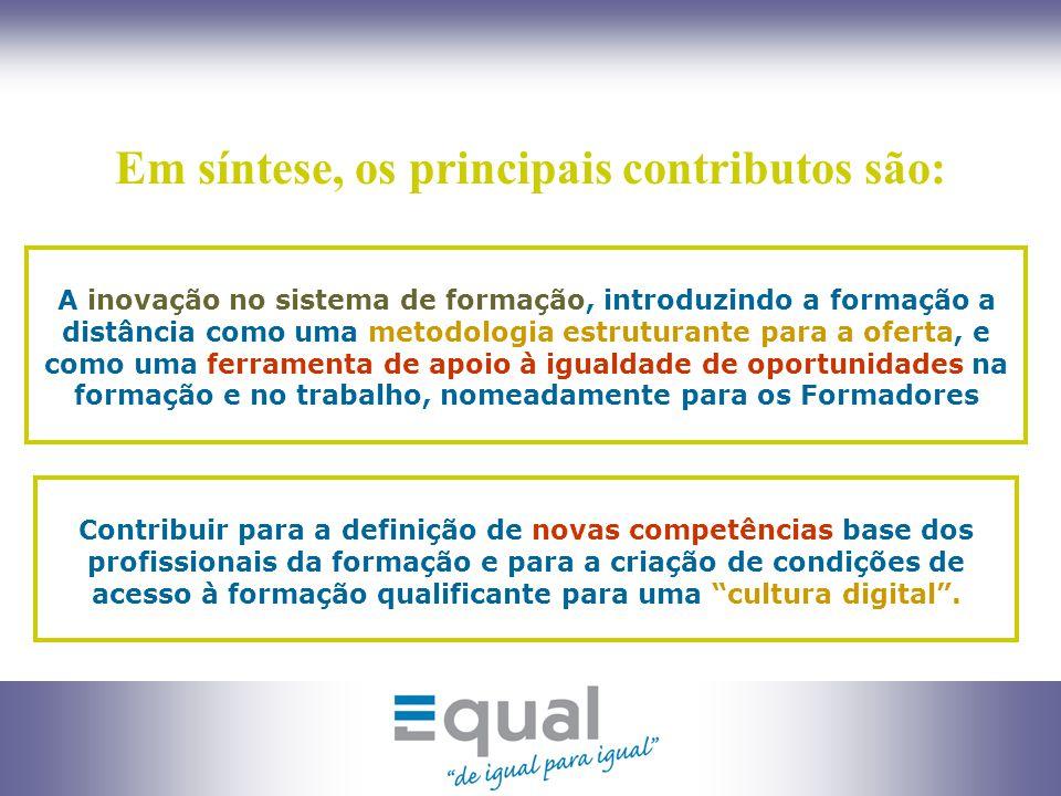 6 Principais actividades: Actividade 1: Levantamento da realidade da formação a distância em Portugal; Actividade 2: Concepção e testagem de um modelo de formação de e.Formadores; Actividade 3: Concepção e execução de acções de formação de e.Formadores;