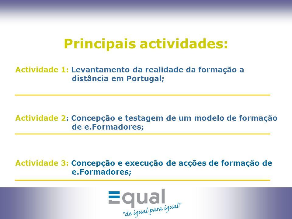 7 Actividade 4 : Concepção de um modelo de certificação de competências de e.formadores; Principais actividades: Actividade 5 : Costumização da plataforma formare para utilização pelo público alvo da ACAPO; Actividade 6: Concepção do Jogo Pedagógico para e-Learning;