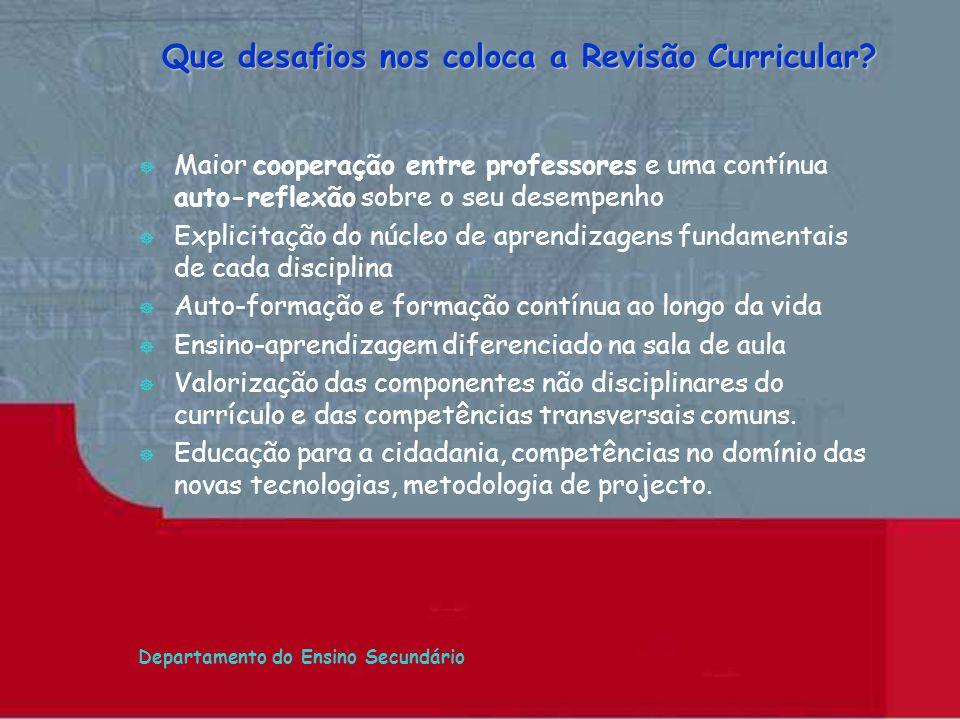 Departamento do Ensino Secundário Que desafios nos coloca a Revisão Curricular? ] Maior cooperação entre professores e uma contínua auto-reflexão sobr