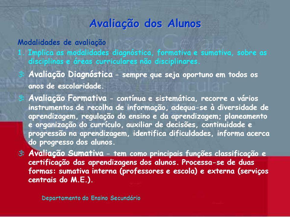 Departamento do Ensino Secundário Modalidades de avaliação 1. Implica as modalidades diagnóstica, formativa e sumativa, sobre as disciplinas e áreas c