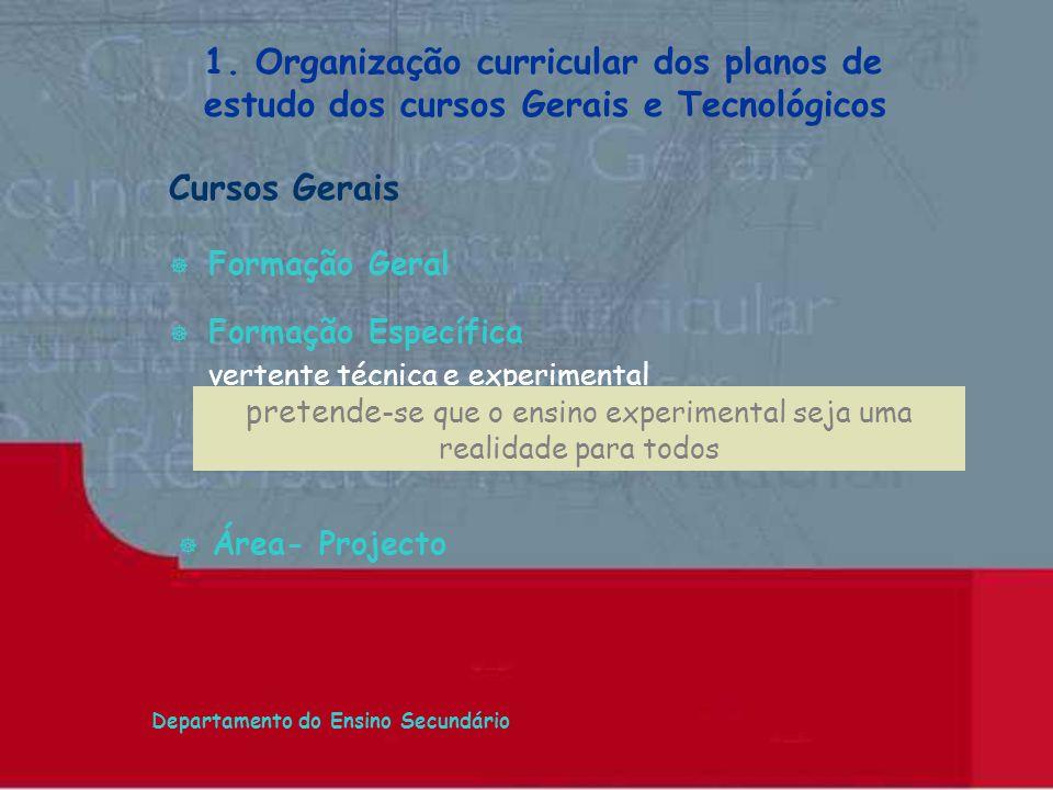 Departamento do Ensino Secundário Cursos Gerais Formação Geral Formação Específica vertente técnica e experimental 1. Organização curricular dos plano