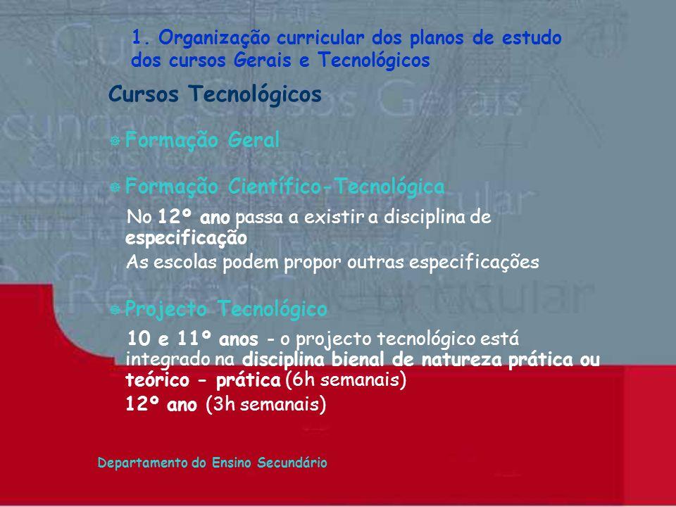 Departamento do Ensino Secundário Cursos Tecnológicos ] Formação Geral Formação Científico-Tecnológica No 12º ano passa a existir a disciplina de espe