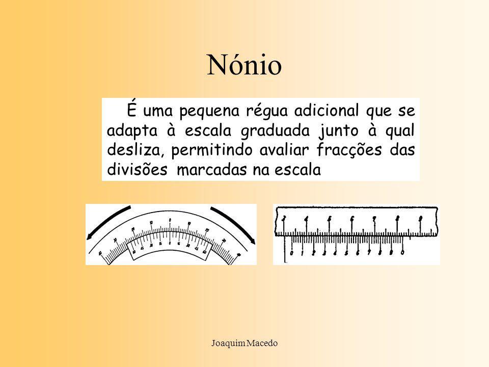 Joaquim Macedo Nónio É uma pequena régua adicional que se adapta à escala graduada junto à qual desliza, permitindo avaliar fracções das divisões marcadas na escala