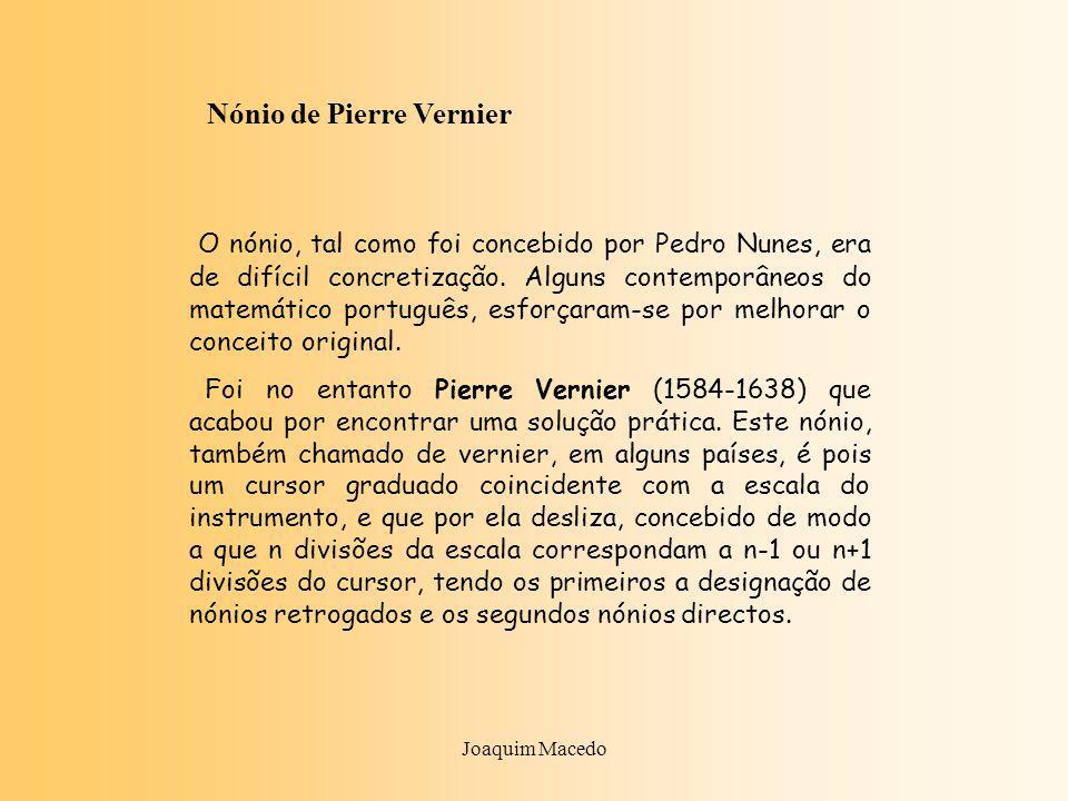 Joaquim Macedo Nónio de Pierre Vernier O nónio, tal como foi concebido por Pedro Nunes, era de difícil concretização.