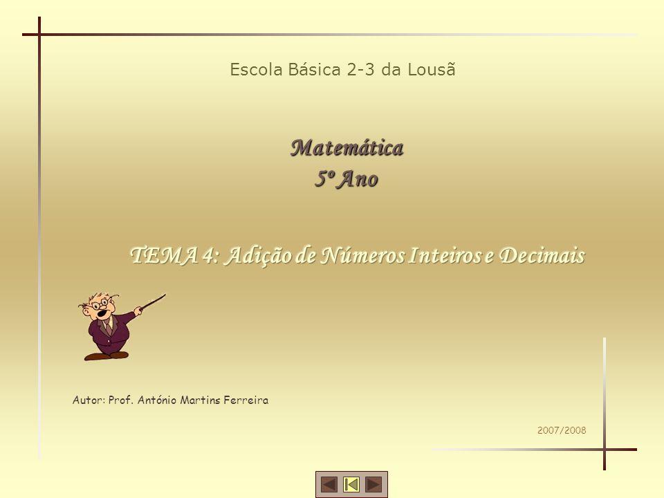 Matemática -5º ano TEMA 4 – ADIÇÃO DE NÚMEROS INTEIROS E DECIMAIS Identificação dos termos da adição.