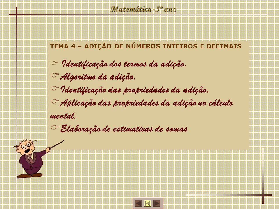 Matemática -5º ano TEMA 4 – ADIÇÃO DE NÚMEROS INTEIROS E DECIMAIS Identificação dos termos da adição. Algoritmo da adição. Identificação das proprieda