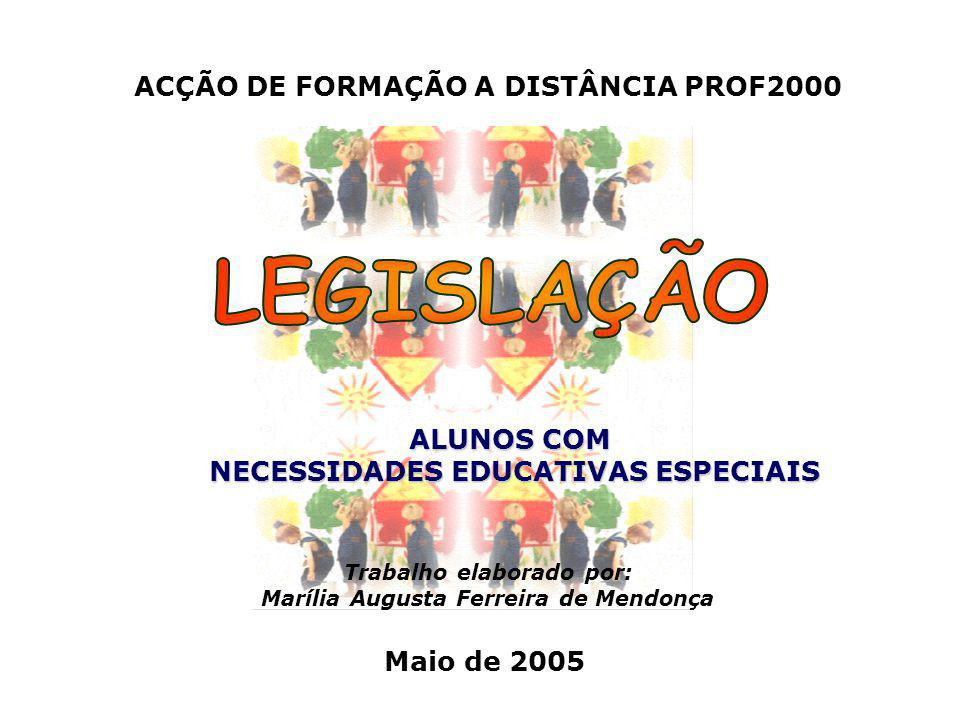 ACÇÃO DE FORMAÇÃO A DISTÂNCIA PROF2000 Maio de 2005 ALUNOS COM NECESSIDADES EDUCATIVAS ESPECIAIS NECESSIDADES EDUCATIVAS ESPECIAIS Trabalho elaborado por: Marília Augusta Ferreira de Mendonça