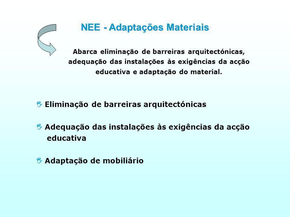 Abarca eliminação de barreiras arquitectónicas, adequação das instalações às exigências da acção educativa e adaptação do material.
