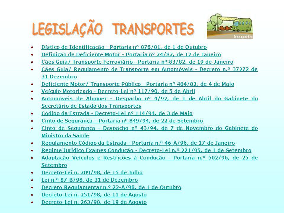 Dístico de Identificação - Portaria nº 878/81, de 1 de OutubroDístico de Identificação - Portaria nº 878/81, de 1 de Outubro Definição de Deficiente Motor - Portaria nº 24/82, de 12 de JaneiroDefinição de Deficiente Motor - Portaria nº 24/82, de 12 de Janeiro Cães Guia/ Transporte Ferroviário - Portaria nº 83/82, de 19 de JaneiroCães Guia/ Transporte Ferroviário - Portaria nº 83/82, de 19 de Janeiro Cães Guia/ Regulamento de Transporte em Automóveis - Decreto n.º 37272 de 31 DezembroCães Guia/ Regulamento de Transporte em Automóveis - Decreto n.º 37272 de 31 Dezembro Deficiente Motor/ Transporte Público - Portaria nº 464/82, de 4 de MaioDeficiente Motor/ Transporte Público - Portaria nº 464/82, de 4 de Maio Veículo Motorizado - Decreto-Lei nº 117/90, de 5 de AbrilVeículo Motorizado - Decreto-Lei nº 117/90, de 5 de Abril Automóveis de Aluguer - Despacho nº 4/92, de 1 de Abril do Gabinete do Secretário de Estado dos TransportesAutomóveis de Aluguer - Despacho nº 4/92, de 1 de Abril do Gabinete do Secretário de Estado dos Transportes Código da Estrada - Decreto-Lei nº 114/94, de 3 de MaioCódigo da Estrada - Decreto-Lei nº 114/94, de 3 de Maio Cinto de Segurança - Portaria nº 849/94, de 22 de SetembroCinto de Segurança - Portaria nº 849/94, de 22 de Setembro Cinto de Segurança - Despacho nº 43/94, de 7 de Novembro do Gabinete do Ministro da SaúdeCinto de Segurança - Despacho nº 43/94, de 7 de Novembro do Gabinete do Ministro da Saúde Regulamento Código da Estrada - Portaria n.º 46-A/96, de 17 de JaneiroRegulamento Código da Estrada - Portaria n.º 46-A/96, de 17 de Janeiro Regime Jurídico Exames Condução - Decreto-Lei n.º 221/95, de 1 de SetembroRegime Jurídico Exames Condução - Decreto-Lei n.º 221/95, de 1 de Setembro Adaptação Veículos e Restrições à Condução - Portaria n.º 502/96, de 25 de SetembroAdaptação Veículos e Restrições à Condução - Portaria n.º 502/96, de 25 de Setembro Decreto-Lei n.