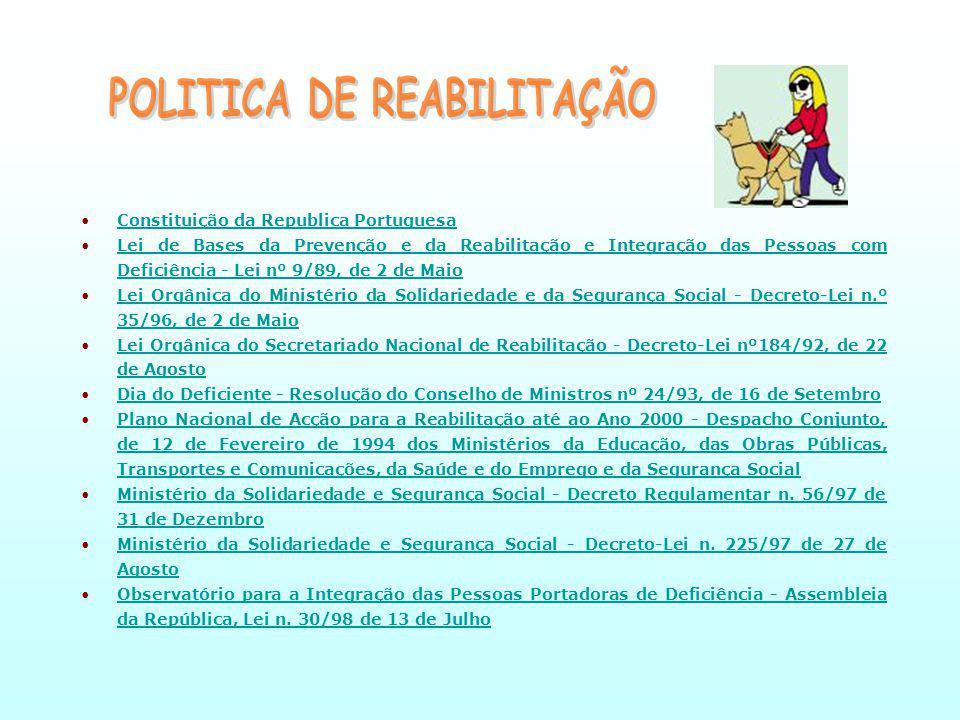 Constituição da Republica PortuguesaConstituição da Republica Portuguesa Lei de Bases da Prevenção e da Reabilitação e Integração das Pessoas com Deficiência - Lei nº 9/89, de 2 de MaioLei de Bases da Prevenção e da Reabilitação e Integração das Pessoas com Deficiência - Lei nº 9/89, de 2 de Maio Lei Orgânica do Ministério da Solidariedade e da Segurança Social - Decreto-Lei n.º 35/96, de 2 de MaioLei Orgânica do Ministério da Solidariedade e da Segurança Social - Decreto-Lei n.º 35/96, de 2 de Maio Lei Orgânica do Secretariado Nacional de Reabilitação - Decreto-Lei nº184/92, de 22 de AgostoLei Orgânica do Secretariado Nacional de Reabilitação - Decreto-Lei nº184/92, de 22 de Agosto Dia do Deficiente - Resolução do Conselho de Ministros nº 24/93, de 16 de SetembroDia do Deficiente - Resolução do Conselho de Ministros nº 24/93, de 16 de Setembro Plano Nacional de Acção para a Reabilitação até ao Ano 2000 - Despacho Conjunto, de 12 de Fevereiro de 1994 dos Ministérios da Educação, das Obras Públicas, Transportes e Comunicações, da Saúde e do Emprego e da Segurança SocialPlano Nacional de Acção para a Reabilitação até ao Ano 2000 - Despacho Conjunto, de 12 de Fevereiro de 1994 dos Ministérios da Educação, das Obras Públicas, Transportes e Comunicações, da Saúde e do Emprego e da Segurança Social Ministério da Solidariedade e Segurança Social - Decreto Regulamentar n.