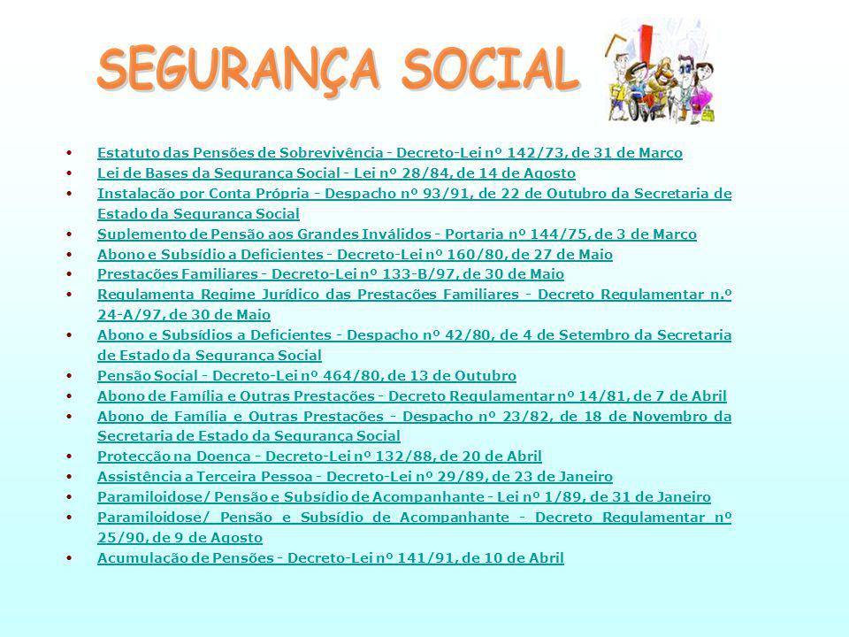 Estatuto das Pensões de Sobrevivência - Decreto-Lei nº 142/73, de 31 de MarçoEstatuto das Pensões de Sobrevivência - Decreto-Lei nº 142/73, de 31 de Março Lei de Bases da Segurança Social - Lei nº 28/84, de 14 de AgostoLei de Bases da Segurança Social - Lei nº 28/84, de 14 de Agosto Instalação por Conta Própria - Despacho nº 93/91, de 22 de Outubro da Secretaria de Estado da Segurança SocialInstalação por Conta Própria - Despacho nº 93/91, de 22 de Outubro da Secretaria de Estado da Segurança Social Suplemento de Pensão aos Grandes Inválidos - Portaria nº 144/75, de 3 de MarçoSuplemento de Pensão aos Grandes Inválidos - Portaria nº 144/75, de 3 de Março Abono e Subsídio a Deficientes - Decreto-Lei nº 160/80, de 27 de MaioAbono e Subsídio a Deficientes - Decreto-Lei nº 160/80, de 27 de Maio Prestações Familiares - Decreto-Lei nº 133-B/97, de 30 de MaioPrestações Familiares - Decreto-Lei nº 133-B/97, de 30 de Maio Regulamenta Regime Jurídico das Prestações Familiares - Decreto Regulamentar n.º 24-A/97, de 30 de MaioRegulamenta Regime Jurídico das Prestações Familiares - Decreto Regulamentar n.º 24-A/97, de 30 de Maio Abono e Subsídios a Deficientes - Despacho nº 42/80, de 4 de Setembro da Secretaria de Estado da Segurança SocialAbono e Subsídios a Deficientes - Despacho nº 42/80, de 4 de Setembro da Secretaria de Estado da Segurança Social Pensão Social - Decreto-Lei nº 464/80, de 13 de OutubroPensão Social - Decreto-Lei nº 464/80, de 13 de Outubro Abono de Família e Outras Prestações - Decreto Regulamentar nº 14/81, de 7 de AbrilAbono de Família e Outras Prestações - Decreto Regulamentar nº 14/81, de 7 de Abril Abono de Família e Outras Prestações - Despacho nº 23/82, de 18 de Novembro da Secretaria de Estado da Segurança SocialAbono de Família e Outras Prestações - Despacho nº 23/82, de 18 de Novembro da Secretaria de Estado da Segurança Social Protecção na Doença - Decreto-Lei nº 132/88, de 20 de AbrilProtecção na Doença - Decreto-Lei nº 132/88, de 20 de Abril Assi