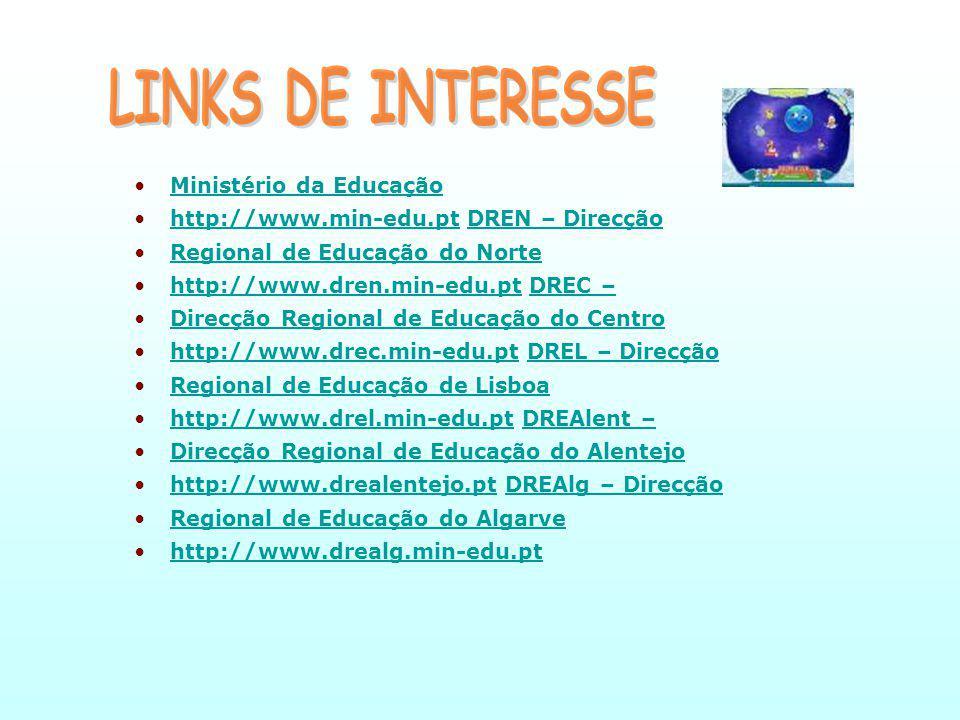 Ministério da EducaçãoMinistério da Educação http://www.min-edu.pt DREN – Direcçãohttp://www.min-edu.ptDREN – Direcção Regional de Educação do NorteRegional de Educação do Norte http://www.dren.min-edu.pt DREC –http://www.dren.min-edu.ptDREC – Direcção Regional de Educação do CentroDirecção Regional de Educação do Centro http://www.drec.min-edu.pt DREL – Direcçãohttp://www.drec.min-edu.ptDREL – Direcção Regional de Educação de LisboaRegional de Educação de Lisboa http://www.drel.min-edu.pt DREAlent –http://www.drel.min-edu.ptDREAlent – Direcção Regional de Educação do AlentejoDirecção Regional de Educação do Alentejo http://www.drealentejo.pt DREAlg – Direcçãohttp://www.drealentejo.ptDREAlg – Direcção Regional de Educação do AlgarveRegional de Educação do Algarve http://www.drealg.min-edu.pt