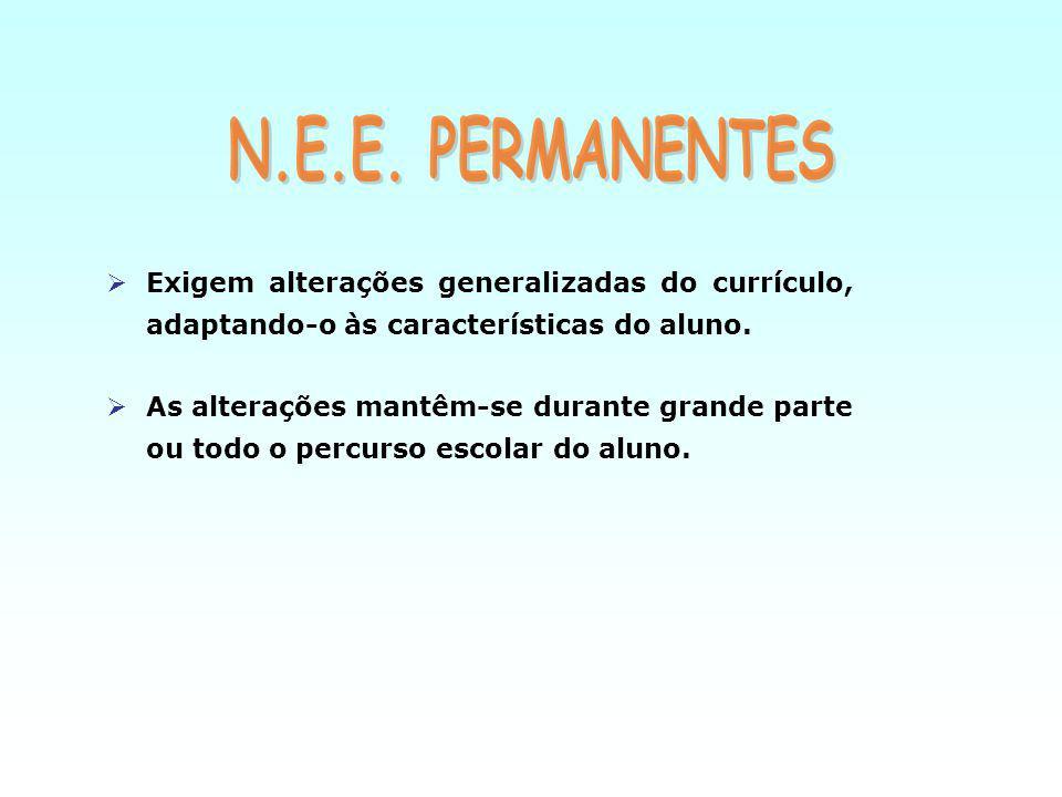 Exigem alterações generalizadas do currículo, adaptando-o às características do aluno.