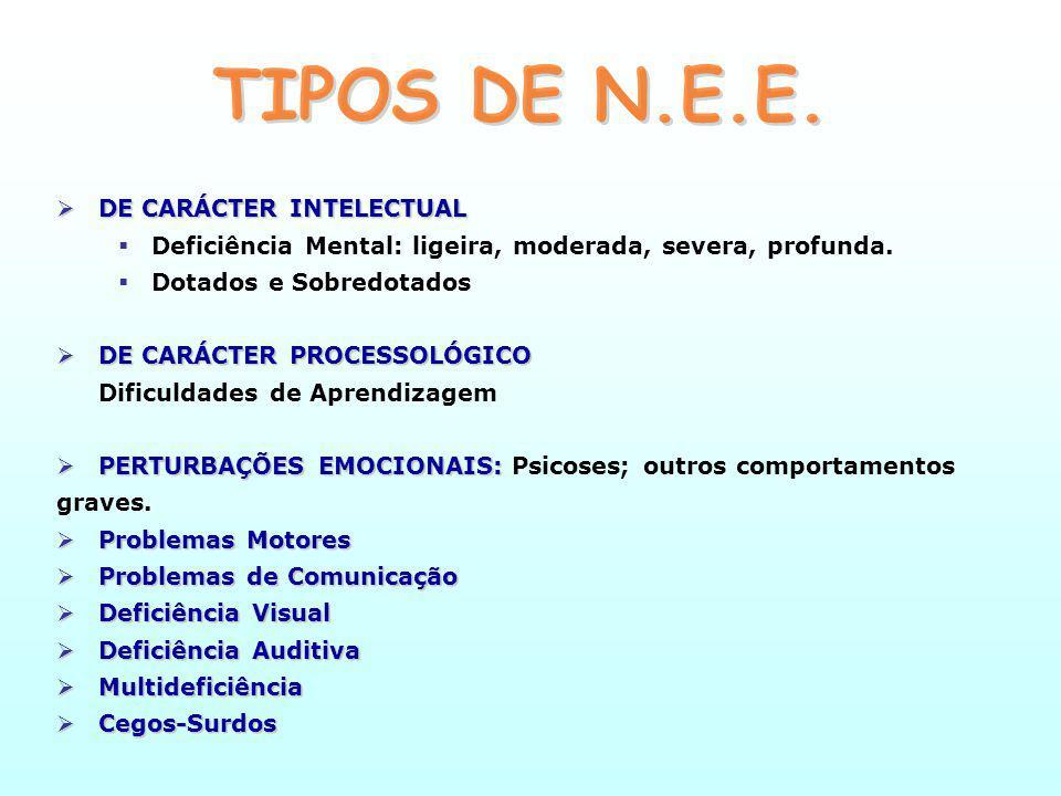 NEE - Condições Especiais de Avaliação Traduzem-se em diferentes tipos de provas ou instrumentos de avaliação, tendo em conta a forma ou meio de expressão do aluno, a periodicidade, a duração ou o local de execução.