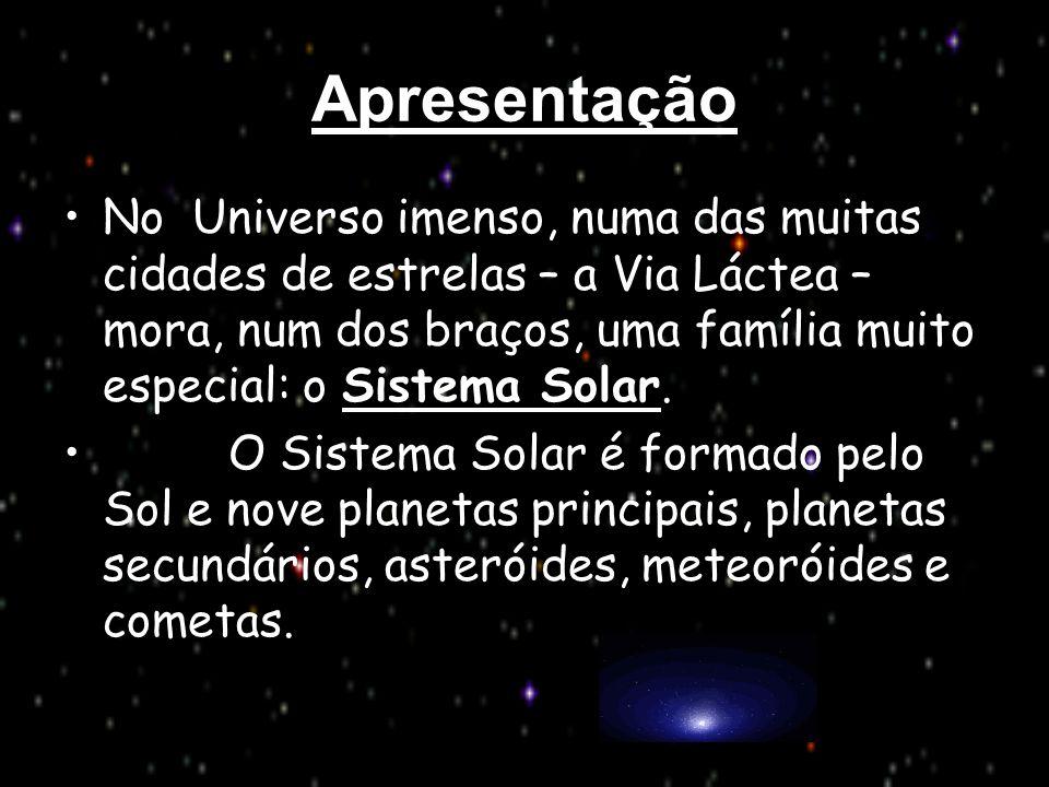 Apresentação No Universo imenso, numa das muitas cidades de estrelas – a Via Láctea – mora, num dos braços, uma família muito especial: o Sistema Sola