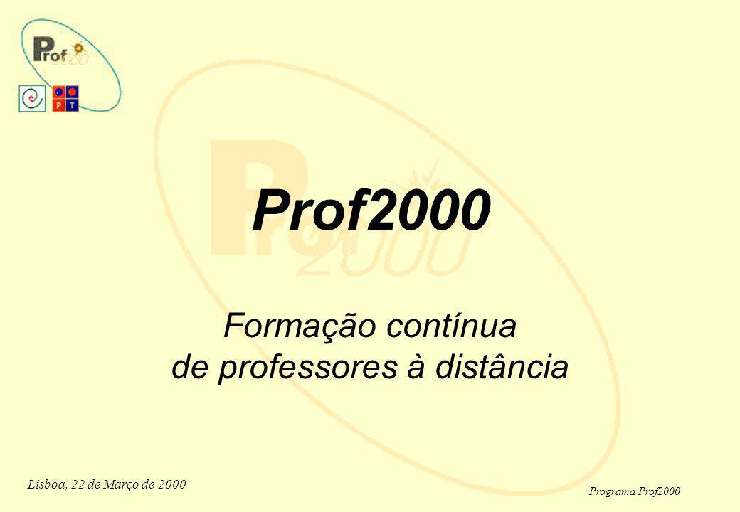 Lisboa, 22 de Março de 2000 Programa Prof2000 Prof2000 Prof2000 Formação de Professores a distância A Aprendizagem TRENDS A Experiência de uma Rede Humana A Criação de um Modelo Inovador Os Cenários de Formação Os Factos e os Números Os Factores de Sucesso