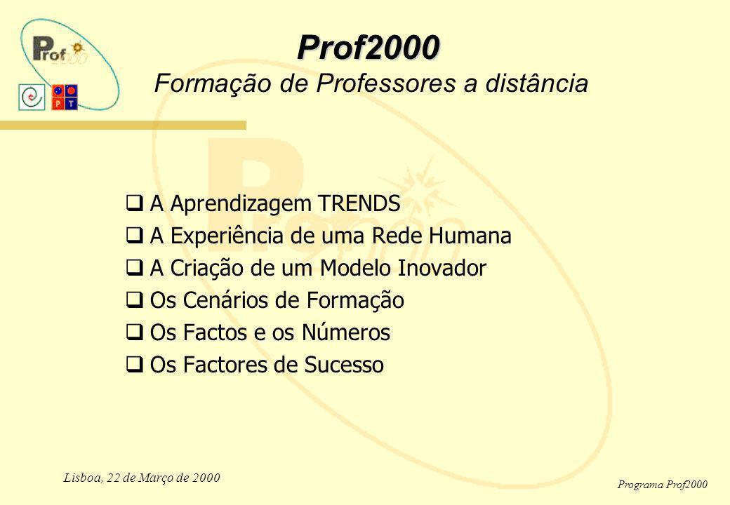 Lisboa, 22 de Março de 2000 Programa Prof2000 Prof2000 Prof2000 Formação de Professores a distância A Aprendizagem TRENDS A Experiência de uma Rede Hu