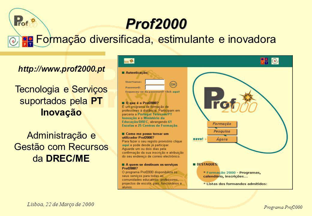 Lisboa, 22 de Março de 2000 Programa Prof2000 Prof2000 Prof2000 Formação diversificada, estimulante e inovadora http://www.prof2000.pt Tecnologia e Se