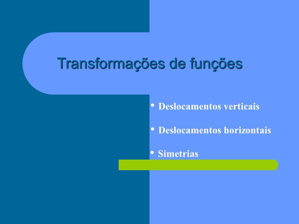 Transformações de funções Deslocamentos verticais Deslocamentos horizontais Simetrias
