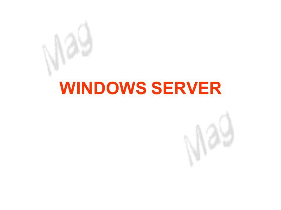 WINDOWS SERVER Objectivos Processamento distribuído - com o Windows Server 2003 temos suporte de rede ao nível do sistema operativo; - é possível integrar em rede servidores Windows Server 2003 com outros servidores.