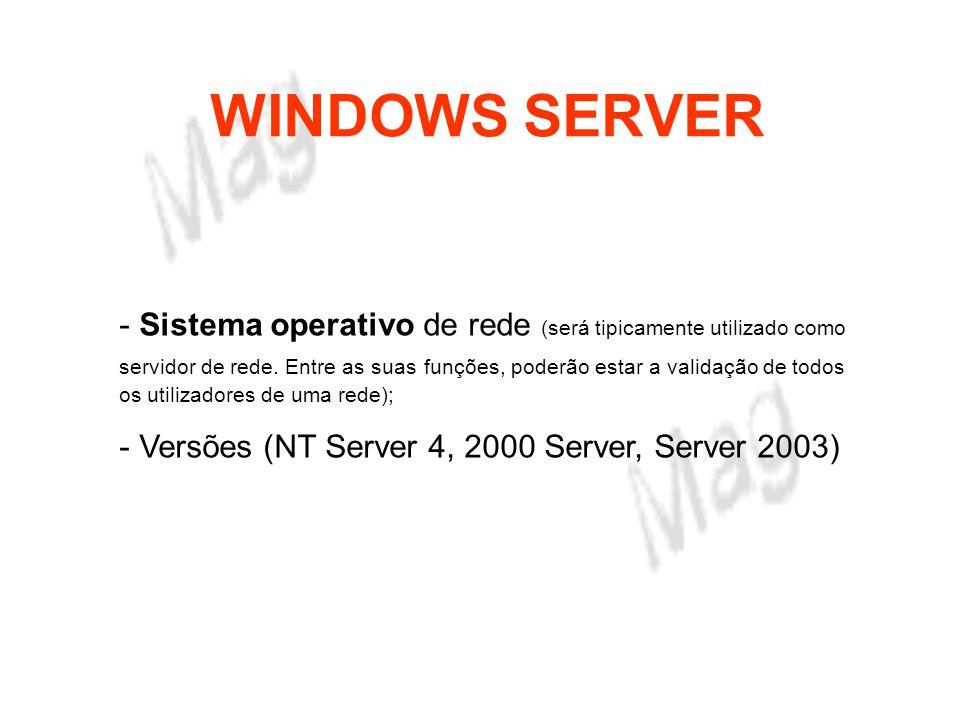 WINDOWS SERVER Áreas de actuação do Win Server 2003 - Servidor de ficheiros; - Servidor de aplicações; - Servidor de impressão; - Servidor de comunicações; - Servidor de instalação.