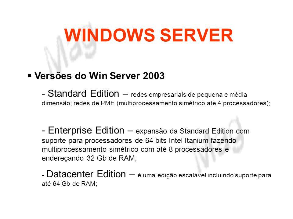 WINDOWS SERVER Objectivos Portabilidade - O Windows Server 2003 apenas suporta processadores da família Intel e compatíveis, tendo abandonado outras plataformas.