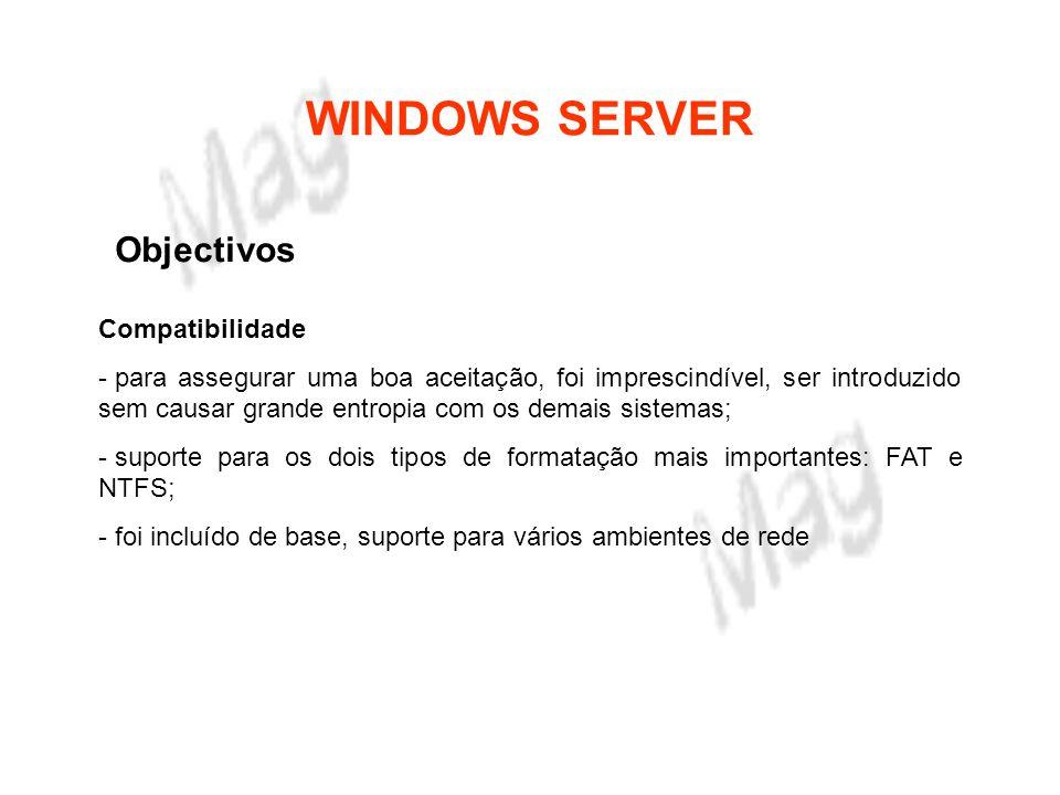 WINDOWS SERVER Objectivos Internacionalização - foi adaptado para os idiomas dos vários países.