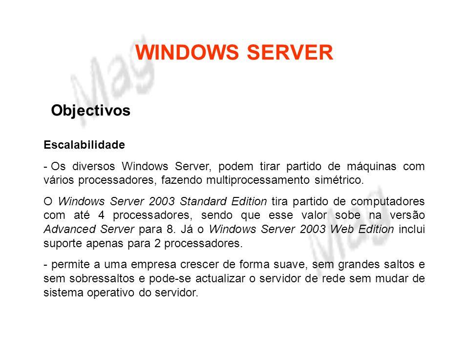 WINDOWS SERVER Características Técnicas Segurança da informação - A segurança da informação tem fundamentalmente duas componentes: o controlo do acesso e o não perder a informação.